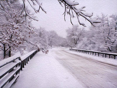 World War 2 Action Photography - Snow along the road by Tracy Winter