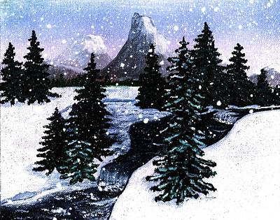 Snow And A Cold Mountain Brook Painterly  Art Print by Barbara Griffin