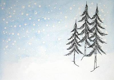 Snow And Pines Original