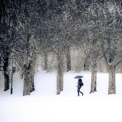Snow-covered Landscape Photograph - Woman With Umbrella Walking In Park Covered With Snow by Aldona Pivoriene