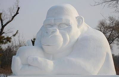 Snow Ape Art Print by Brett Geyer
