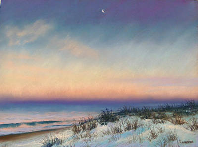 Snow At Bay Head Art Print by Joan Swanson