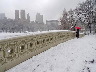 Photograph - Snow At Bow Bridge by Cornelis Verwaal