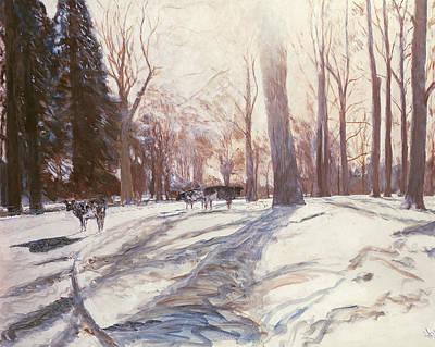 Snow At Broadlands Print by Paul Stewart