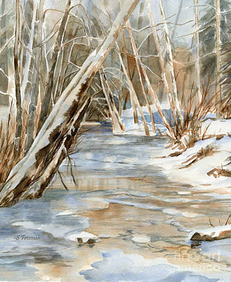 Winter Trees Painting - Snow At Cameron Creek by Sharon Freeman