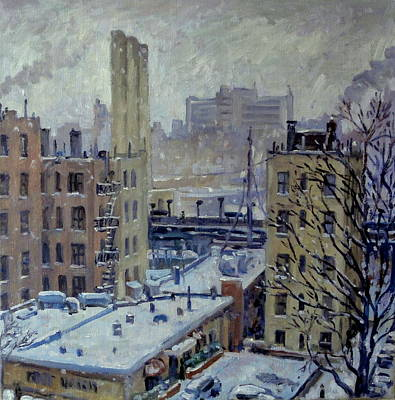 Painting - Snow At Dusk New York City by Thor Wickstrom