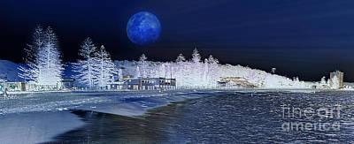 Impressionism Photos - Snow at Sydney Beach - Artistic Impression by Kaye Menner