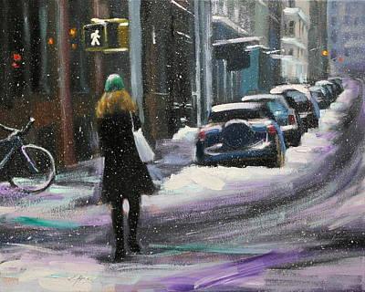 Painting - Snow At The Corner Of Soho by Chin H  Shin