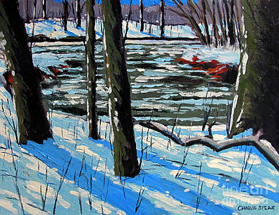 Snow Back On The Eel Art Print by Charlie Spear