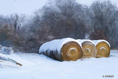 Caskey Wall Art - Painting - Snow Bales by Bethany Caskey