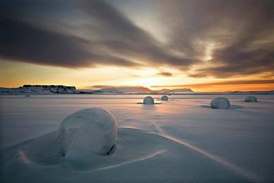 Haybales Photograph - Snow Bales by Bragi Ingibergsson -