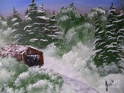Snow Barn Original by Collin A Clarke