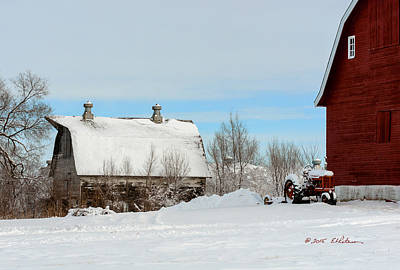 Photograph - Snow Barns by Edward Peterson