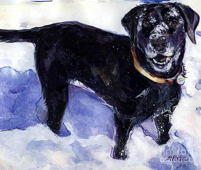 Dog In Snow Painting - Snow Belle by Molly Poole