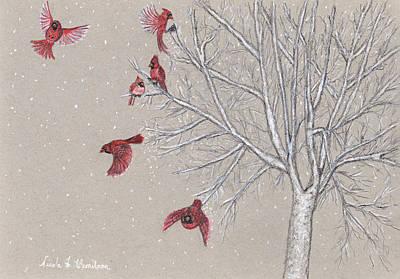 Drawing - Snow Birds by Nicole I Hamilton