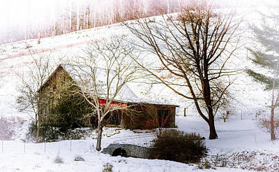 Barn In Woods Photograph - Snow Blanket by Karen Wiles