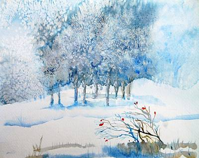 Snow Blizzard In The Grove  Art Print