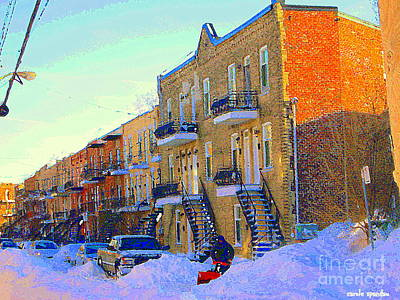 Verdun Streets Painting - Snow Blower In Verdun Typical Montreal Scene After Snow Storm Verdun Paintings Carole Spandau by Carole Spandau