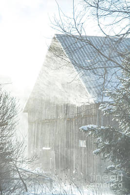 Photograph - Snow Blown Barn by Cheryl Baxter