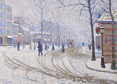 European Street Scene Painting - Snow  Boulevard De Clichy  Paris by Paul Signac