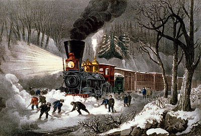 Shovel Digital Art - Snow Bound by Currier and Ives