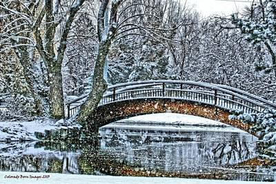 Snow Bridge Art Print by Rebecca Adams