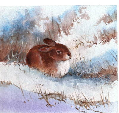 Painting - Snow Bunny by Richard Hinger
