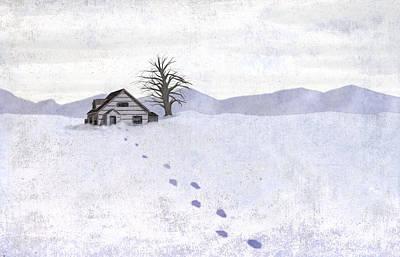 Cabin Interiors Digital Art - Snow Cabin by Steve Dininno