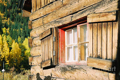 Snow Cabin Window Art Print by Teri Brown