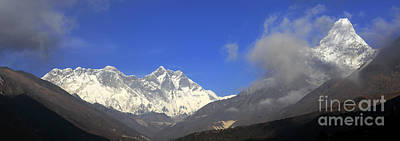 Snow Capped Ama Dablam Mountain On The Everest Base Camp Trek Art Print by Dave Porter