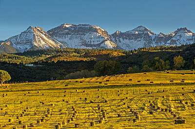 Photograph - Snow Capped Mountains And Hay Bales At Sunset by Willie Harper