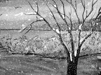 Painting - Snow Capped Tree by Gretchen Allen
