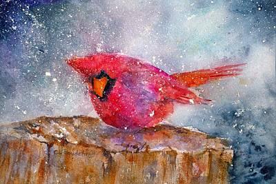 Painting - Snow Cardinal by Cynthia Roudebush