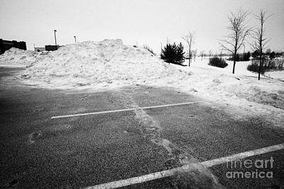 snow cleared parking lot in Saskatoon Saskatchewan Canada Art Print by Joe Fox