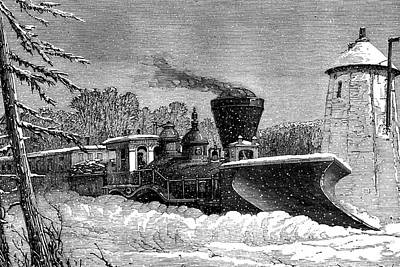 1874 Photograph - Snow Clearing Train by Collection Abecasis