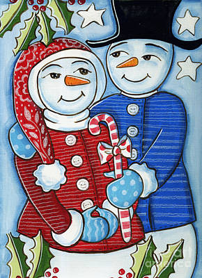 Man And Woman Mixed Media - Snow Couple by Elaine Jackson