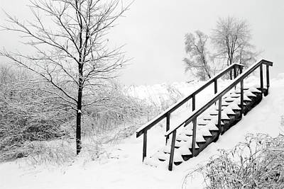 Snow Cover Stairs Art Print