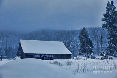Photograph - Snow Covered Barn by Kim Wilson