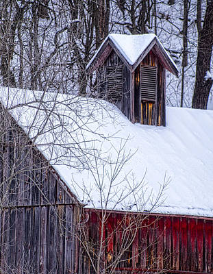 Photograph - Snow Covered Barn by Wayne Meyer