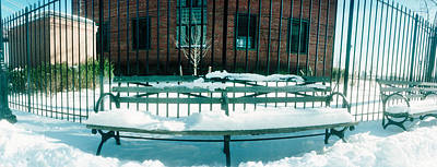 Lower East Side Photograph - Snow Covered Bench In A Park, East by Panoramic Images