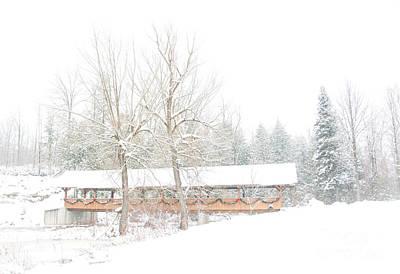 Photograph - Snow Covered Bridge by Cheryl Baxter