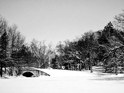 Snow Covered Bridge Art Print