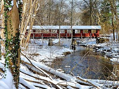 Snow Covered Bridge Art Print by Janice Drew
