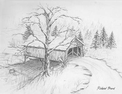 Drawing - Snow Covered Bridge by Richard Beard