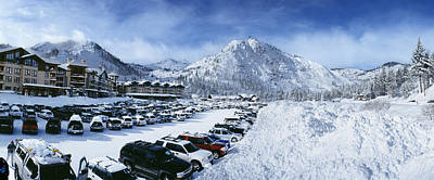 Cold Temperature Photograph - Snow Covered Cars In A Parking Lot by Panoramic Images
