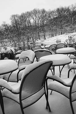 Photograph - Snow Covered Chairs by Dave Beckerman
