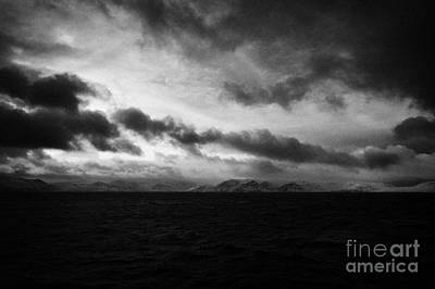 Snow Covered Cliffs And Rugged Arctic Coastline Northern Norway Europ Print by Joe Fox