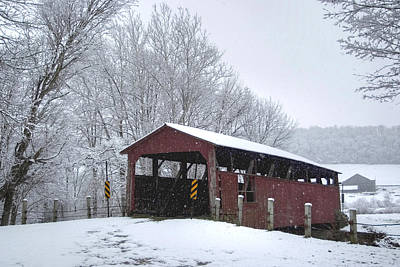 Photograph - Snow Covered Covered Bridge by Gene Walls