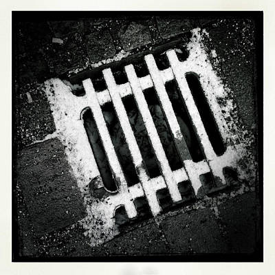 Abstract Wall Art - Photograph - Snow Covered Drain Black And White Minimalism Abstract by Matthias Hauser