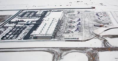 Snow-covered Fedex Terminal Art Print by Jim West